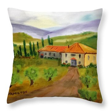 Tuscan Cottage Throw Pillow