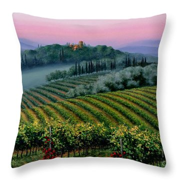 Throw Pillow featuring the painting Tuscan Dusk by Michael Swanson