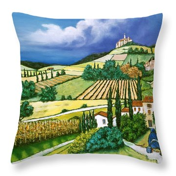 Tuscan Fields Throw Pillow by William Cain