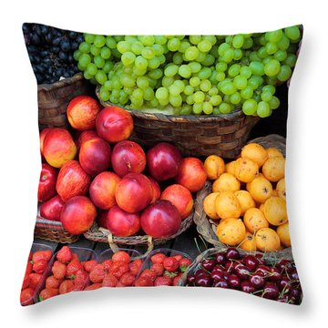 Tuscan Fruit Throw Pillow by Inge Johnsson