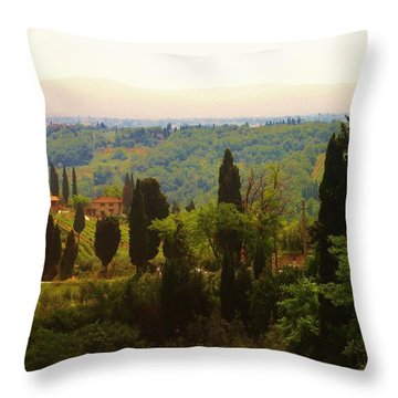 Tuscan Landscape Throw Pillow by Dany Lison