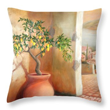 Tuscan Lemon Tree Throw Pillow