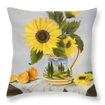 Tuscan Pitcher And Sunflowers Throw Pillow by Carol Sweetwood