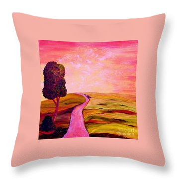 Throw Pillow featuring the painting Tuscan Skies ... An Impressionist View by Eloise Schneider