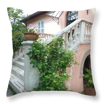 Tuscan Staircase With Flowers Throw Pillow by Marilyn Dunlap