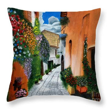 Tuscan Street Scene Throw Pillow by Bev Conover