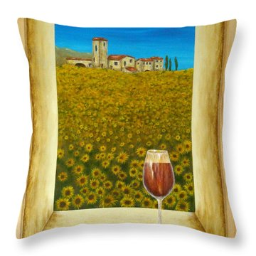 Tuscan View Throw Pillow by Pamela Allegretto