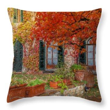 Tuscan Villa In Autumn Throw Pillow
