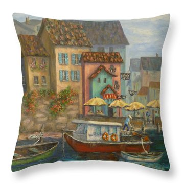 Tuscan Village Boat Paintings Throw Pillow