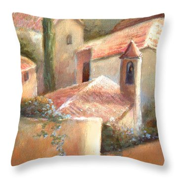 Throw Pillow featuring the painting Tuscan Village by Michael Rock