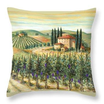 Tuscan Vineyard And Villa Throw Pillow by Marilyn Dunlap