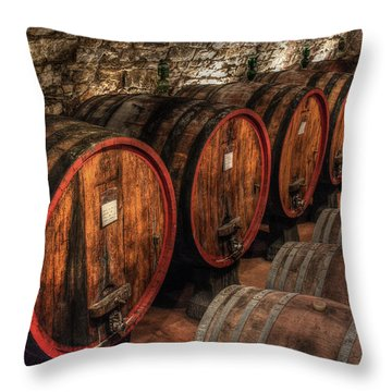 Tuscan Wine Cellar Throw Pillow