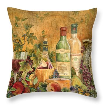 Tuscan Wine Treasures Throw Pillow by Jean Plout