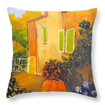 Throw Pillow featuring the painting Tuscany Courtyard by Pamela  Meredith
