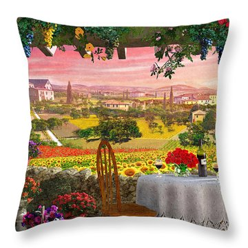 Tuscany Hills Throw Pillow by Dominic Davison