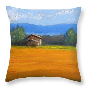 Throw Pillow featuring the painting Tuscany Wheat by Fred Wilson