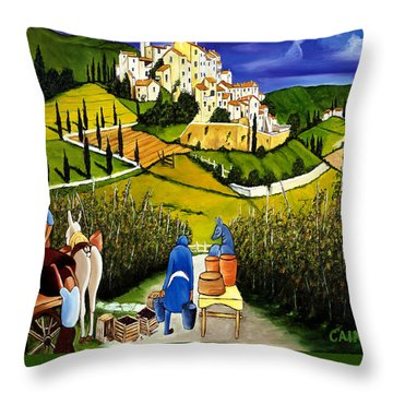 Tuscany Wine Poster Art Print Throw Pillow