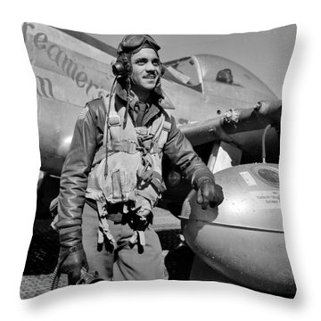 Tuskegee Airman Throw Pillow by Benjamin Yeager