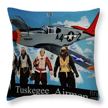 Tuskegee Airmen Throw Pillow by Leon Hollins III