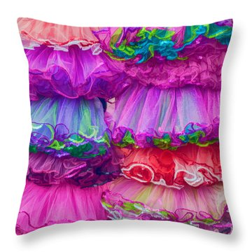 Tutus By The Dozen Throw Pillow by Kathleen K Parker