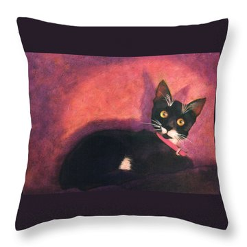 Tux Throw Pillow by Blue Sky