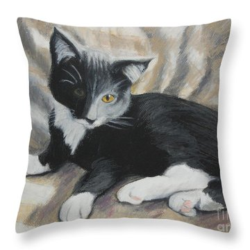 Throw Pillow featuring the painting Tuxedo Kitten by Jeanne Fischer