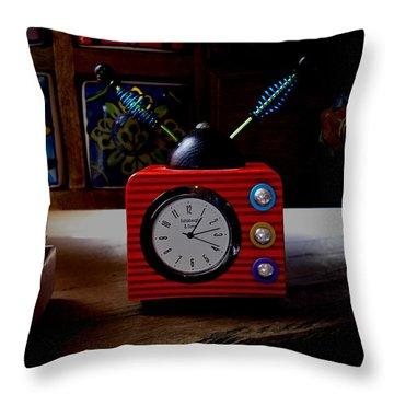 Tv Clock Throw Pillow by David Pantuso