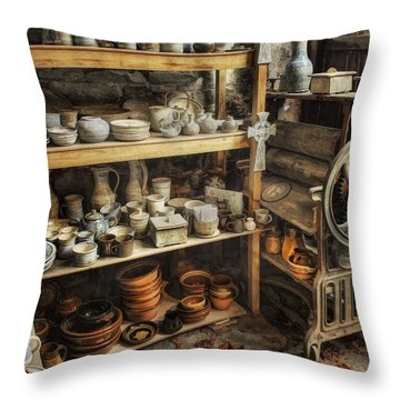 Tweaked N Antiqued Throw Pillow by Ian Mitchell