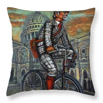 Throw Pillow featuring the painting Tweed Run In Grey Passing St Pauls London  by Mark Howard Jones