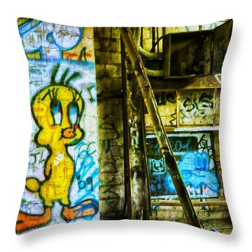 Throw Pillow featuring the photograph Tweety by Debra Fedchin