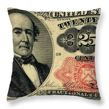 Twenty Five Cents 5th Issue U.s. Fractional Currency Throw Pillow by Lanjee Chee