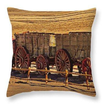 Twenty-mule Team In Sepia Throw Pillow by Robert Bales