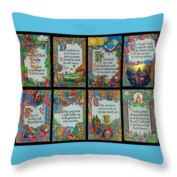 Twenty Third Psalm Collage 2 Throw Pillow by Tikvah's Hope
