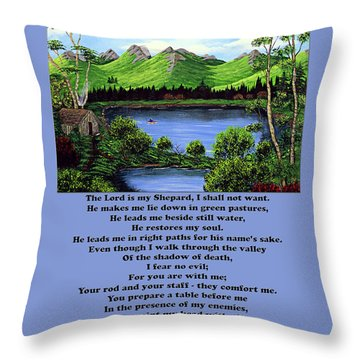Twenty-third Psalm With Twin Ponds Blue Throw Pillow by Barbara Griffin