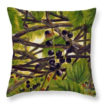 Twigs Leaves And Wild Berries Throw Pillow