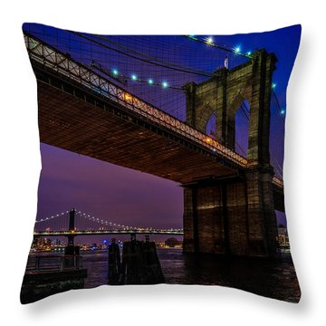 Twilight At The Brooklyn Bridge Throw Pillow