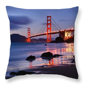 Twilight - Beautiful Sunset View Of The Golden Gate Bridge From Marshalls Beach. Throw Pillow