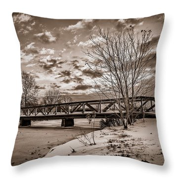 Twilight Bridge Over An Icy Pond - Bw Throw Pillow