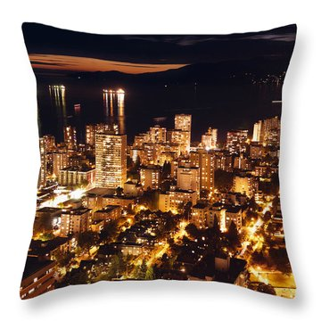 Throw Pillow featuring the photograph Twilight English Bay Vancouver Mdlxvii by Amyn Nasser