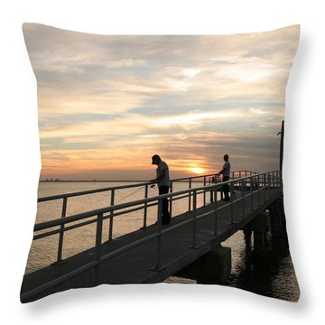 Twilight Fishing Throw Pillow