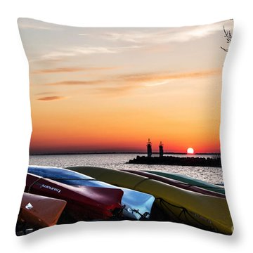 Twilight Kayaks Throw Pillow by Barbara McMahon