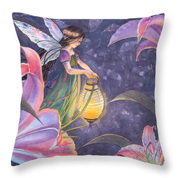 Twilight Lilies Throw Pillow by Sara Burrier