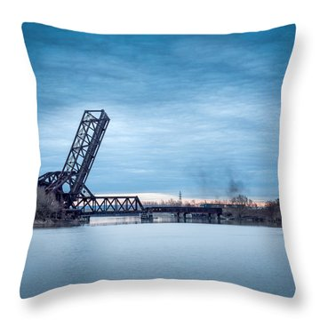 Twilight Locomotive Crossing Buffalo River Throw Pillow