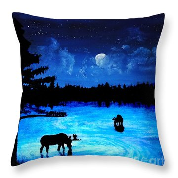 Twilight Moose Throw Pillow by Tylir Wisdom