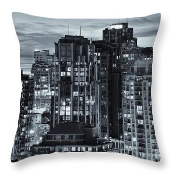 Throw Pillow featuring the photograph Twilight On Cityscape Of Vancouver Overlooking English Bay - Greeting Card by Amyn Nasser