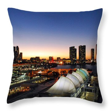 Twilight Over Miami Throw Pillow by Gary Wonning
