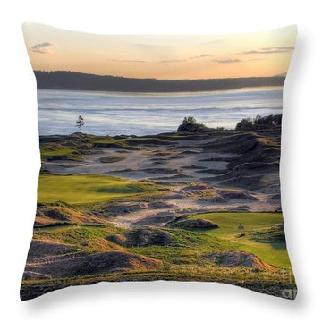Throw Pillow featuring the photograph Twilight Paradise - Chambers Bay Golf Course by Chris Anderson