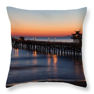 Twilight San Clemente Pier Throw Pillow