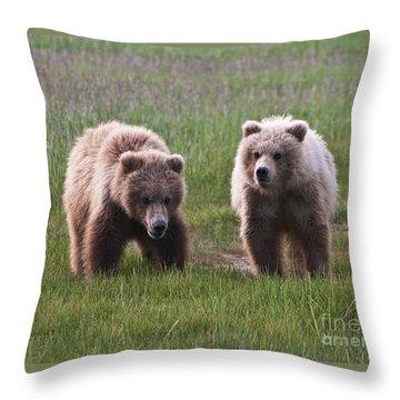 Twin Bear Cubs Throw Pillow