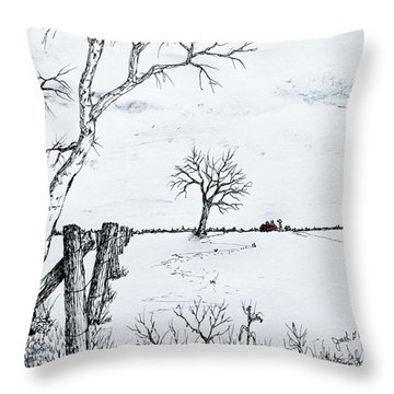 Twin Birch Fence Line Throw Pillow